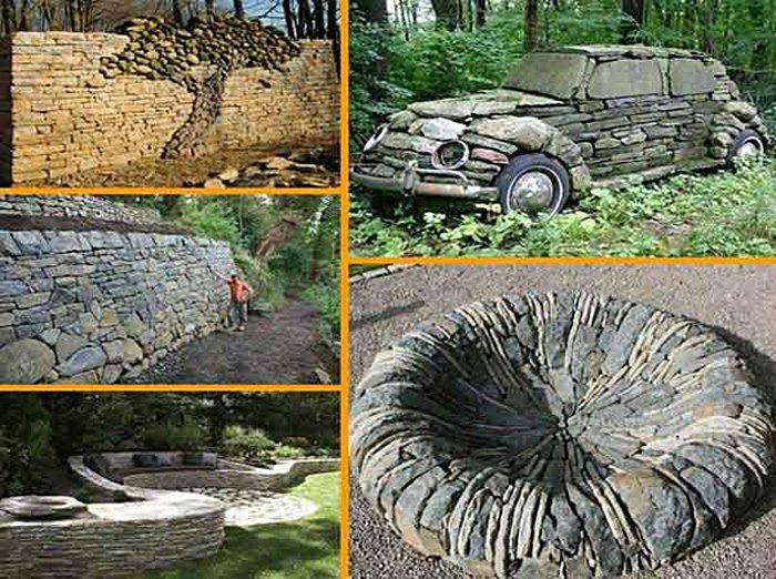 Фантастические идеи украшения сада природными камнями