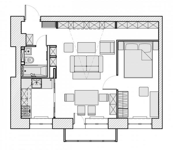 Дизайн квартир 40 кв м - фото планировка комнат