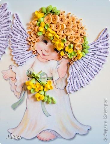 Картина, панно Квиллинг: Ангелочки Бумажные полосы День рождения. Фото 4