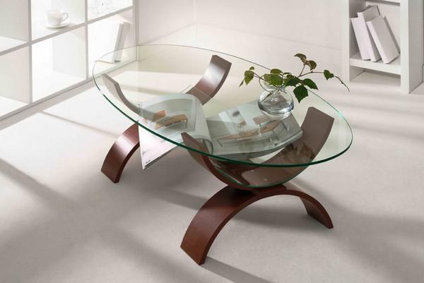 Журнальный овальный столик из дерева и стекла