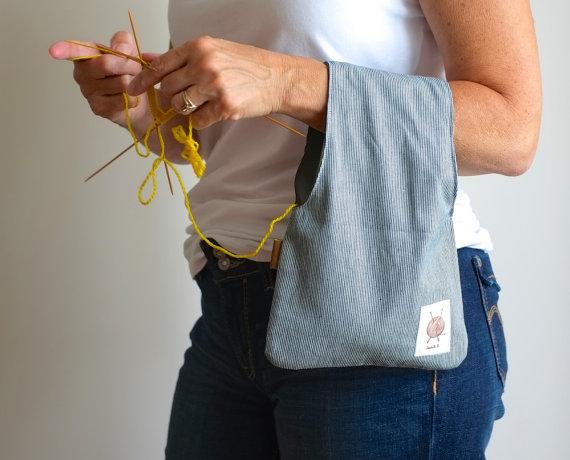 Вязание сумка, сумка проекта, Полосатый чехол, Ремешок