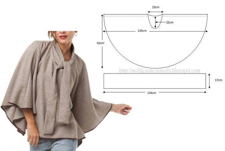 Modelagem де casaco Estilo пончо. Fonte: