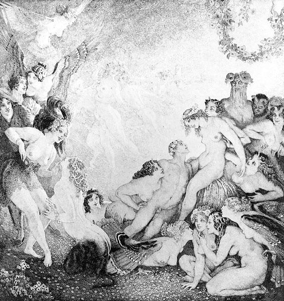 Прелестные нимфы, козлоногие обольстители и демоны в картинах Нормана Линдсея 30