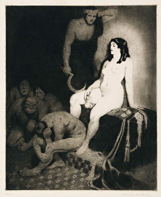Прелестные нимфы, козлоногие обольстители и демоны в картинах Нормана Линдсея 35