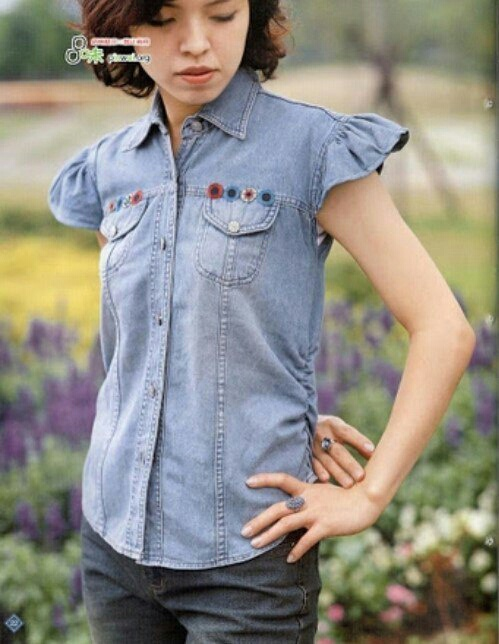 Переделка джинсовой рубашки Diy