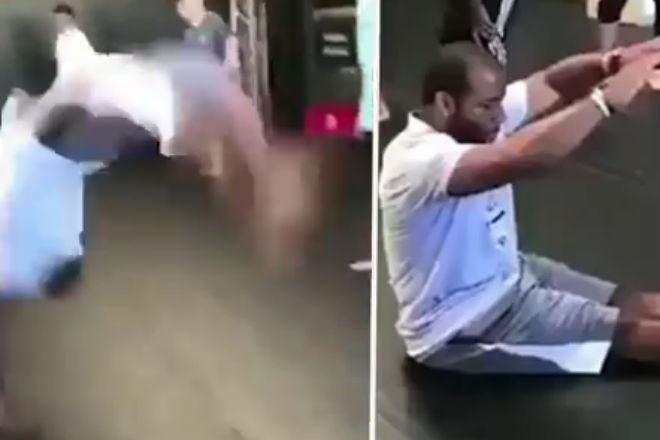 Ниндзя из качалки: парень умудрился сделать сальто назад сидя на полу