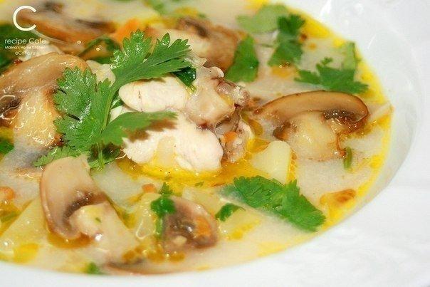 Суп грибной с шампиньонами и курицей и плавленным сыром рецепт