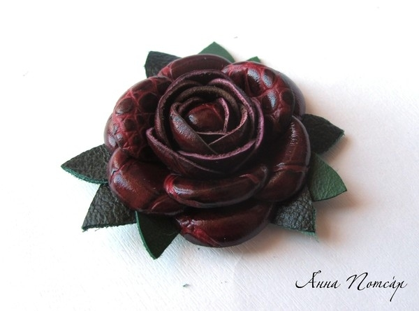Роза из кожзама мастер класс