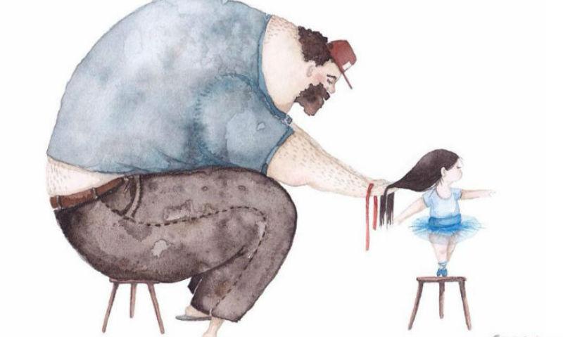 Добрые иллюстрации любви между отцом и дочкой, от которых становится тепло на душе