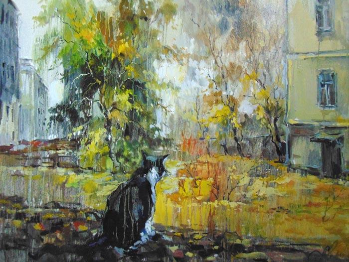 Чарина Анна. Старый кот. Двор на Арбате