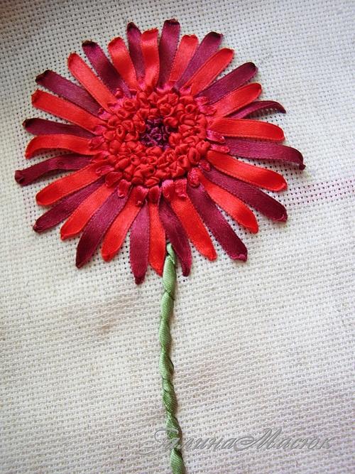 Цветок вышивка лентами