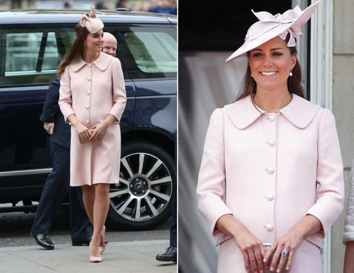 Кейт Миддлтон в нежно-розовом пальто с жемчужными пуговицами от известного британского модного дома «Alexander McQueen».