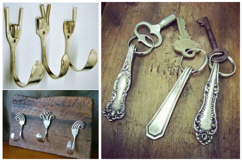 А какие получаются крючки и брелки! вилки, ложки, ножи, сделай сам, столовые приборы, умельцы, фантазия