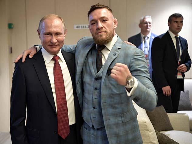 В «Лужниках» Макгрегор встретился с Путиным и чуть не пересекся с Хабибом