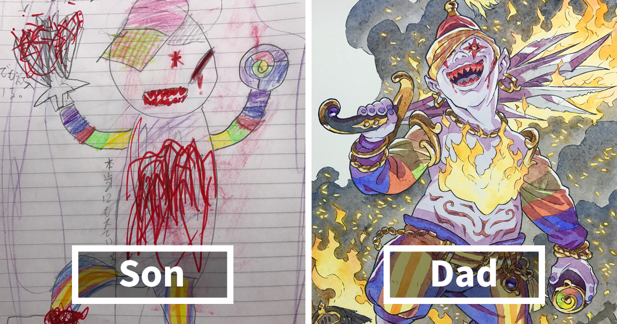 Dad Turns His Sons' Doodles Into Anime Characters, And The Result Is Amazing (Part IV)