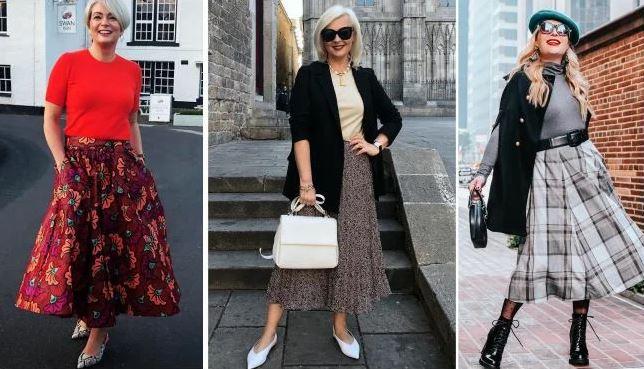 Фасоны юбок, которые красиво смотрятся на женщинах 45-55 лет
