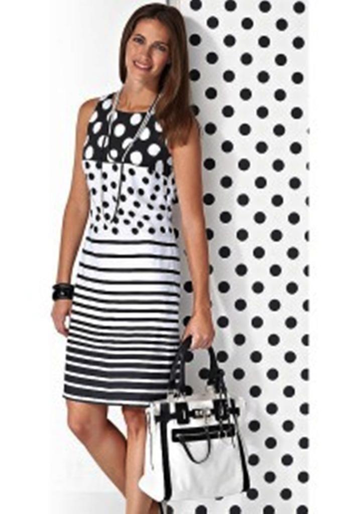 Платье полоска с горохом