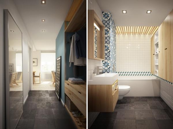 Фото прихожей и ванной комнаты в дизайне квартиры 40 кв м
