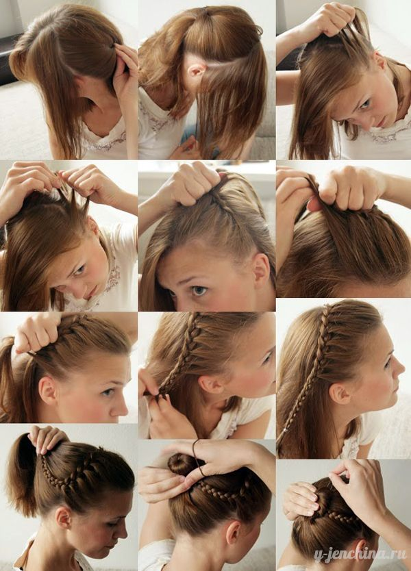 Прически своими руками на среднюю длину волос фото