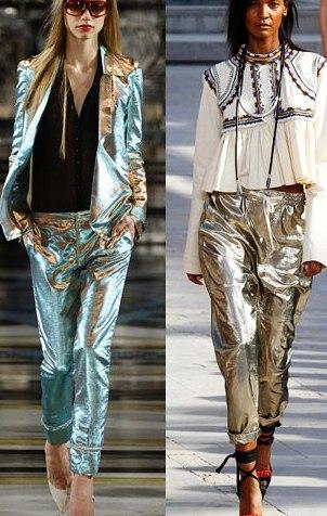 С чем носить блестящие брюки - сеты