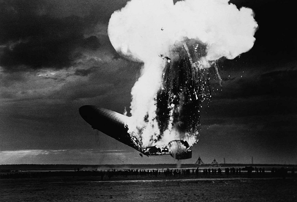 3. Гибель крупнейшего дирижабля Гинденбург, ознаменовавшая конец эпохи дирижаблестроения. исторические фотографии, история, фото