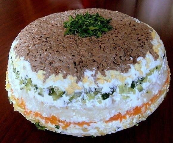 Слоеные салаты из печени рецепты