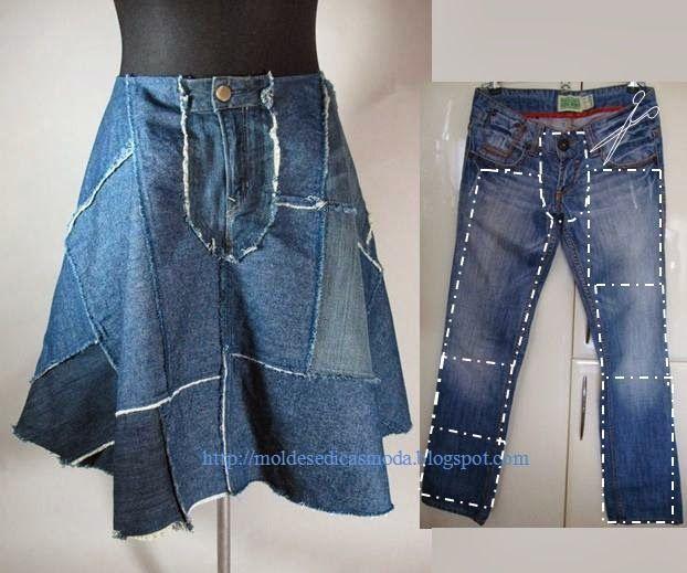 Переработанные синие джинсы
