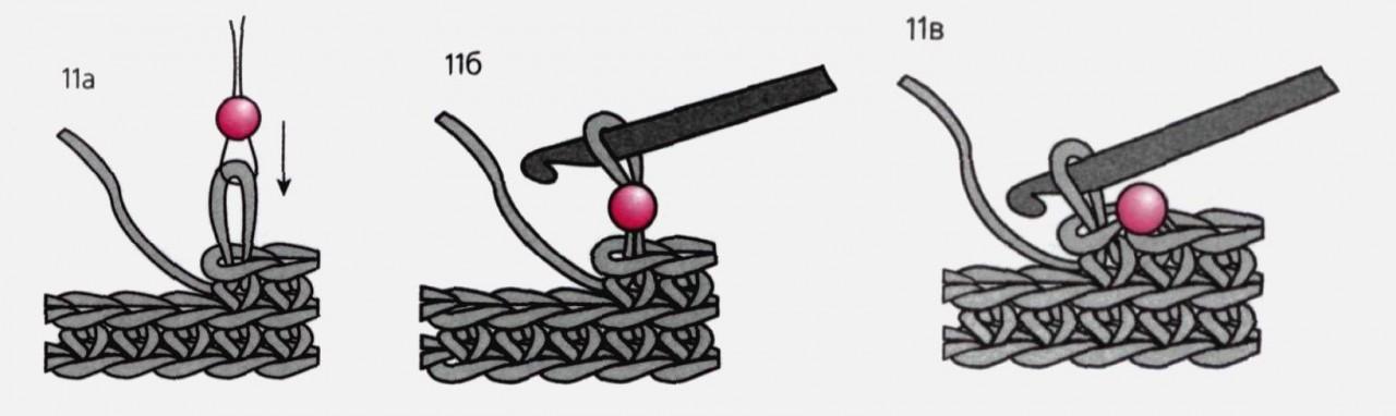 Простой способ вязания с бусинами без нанизывания