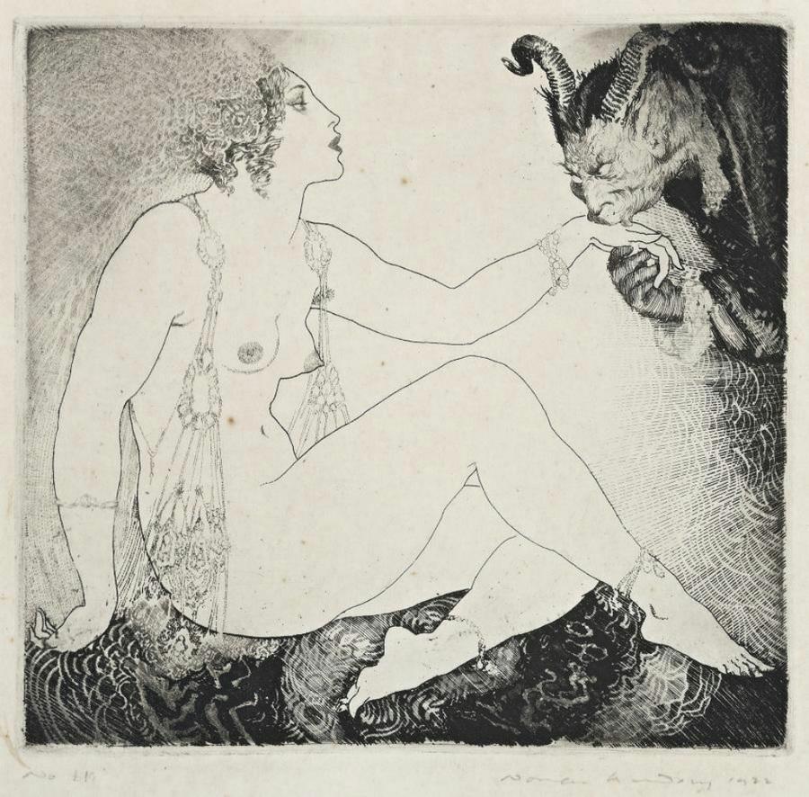 Прелестные нимфы, козлоногие обольстители и демоны в картинах Нормана Линдсея 19