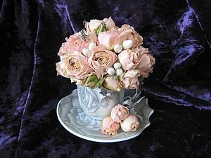 Букет из роз в кофейной чашке, или как сделать милый сувенир | Ярмарка Мастеров - ручная работа, handmade