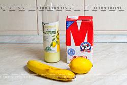 Ингредиенты бананового коктейля с ликером