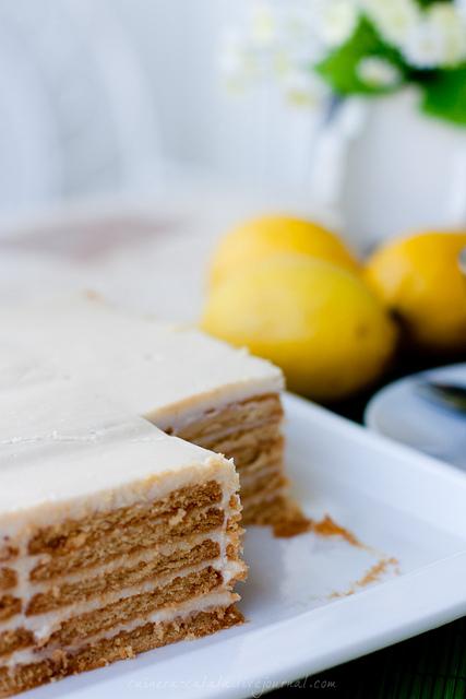 Суперлегкий лимонный торт без выпечки