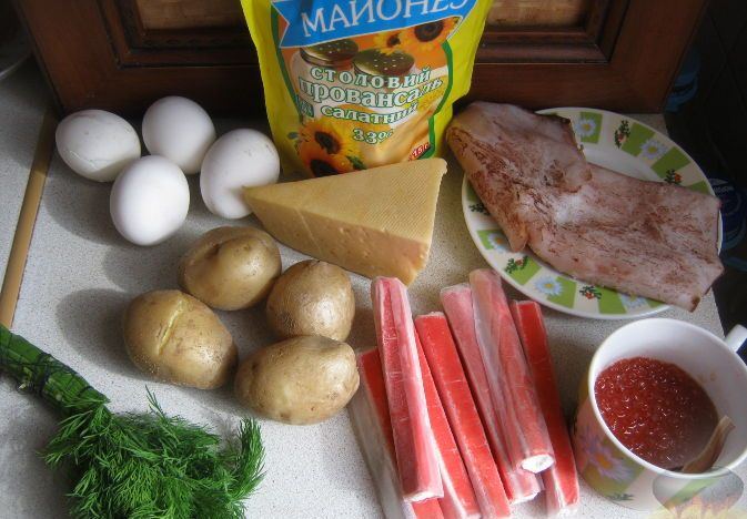 рецепты салатов с ананасом и красной икрой