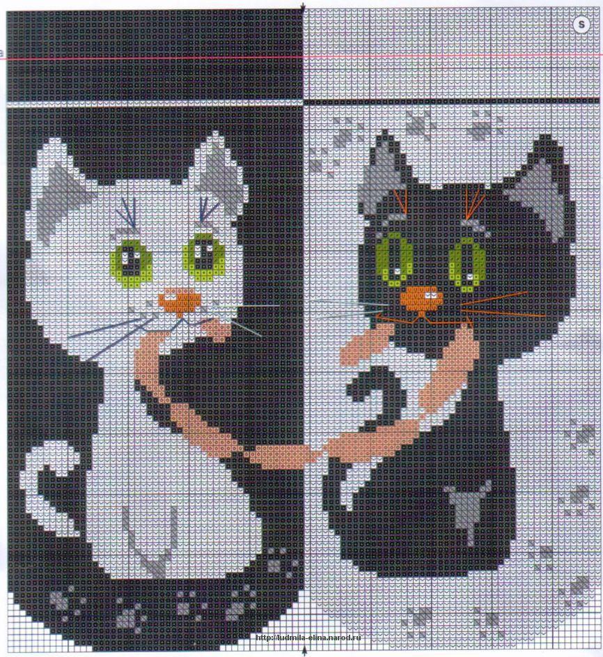 схемы вышивки крестом черный кот