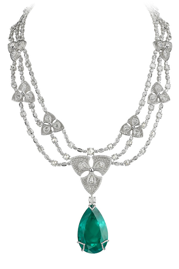 Avakian Pear shape emerald necklace