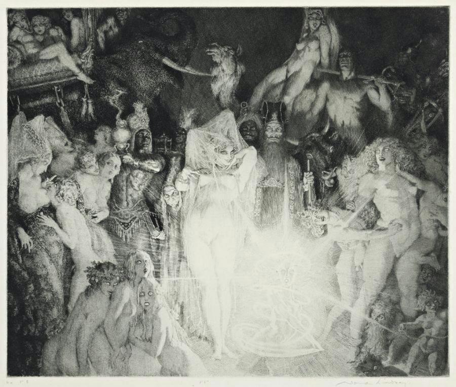 Прелестные нимфы, козлоногие обольстители и демоны в картинах Нормана Линдсея 6