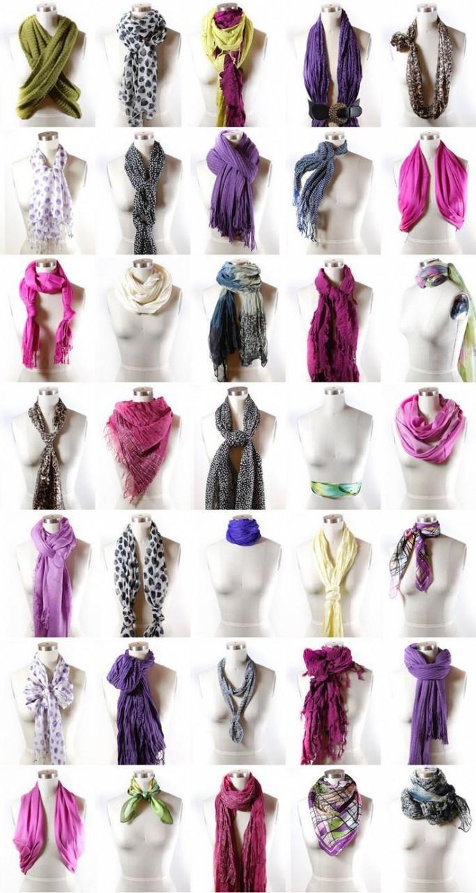 16. 100500 способов завязать шарф девушки, мода, одежда, стиль, шпаргалка