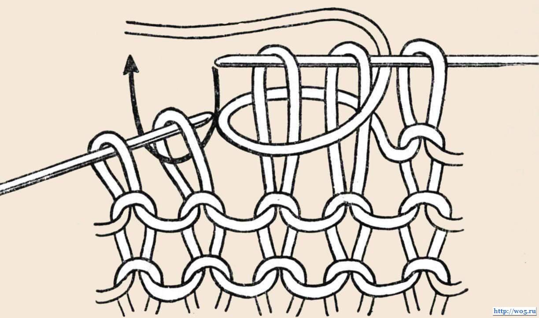 Вязание спицами обвитые петли 64