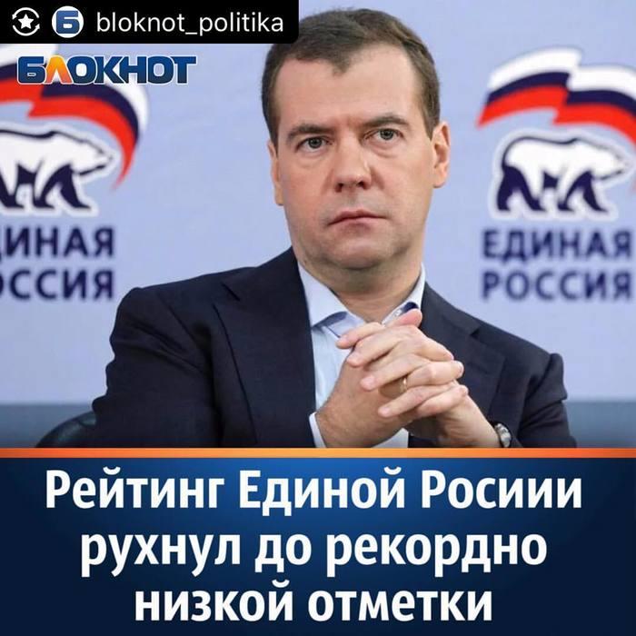 Рейтинг Единой Росии рухнул до рекордно низкой отметки