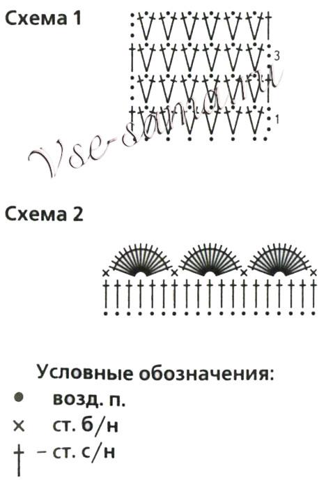 Схемы для вязания держателя для штор с цветами
