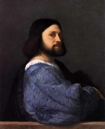 Тициан. Портрет мужчины в платье с синими рукавами
