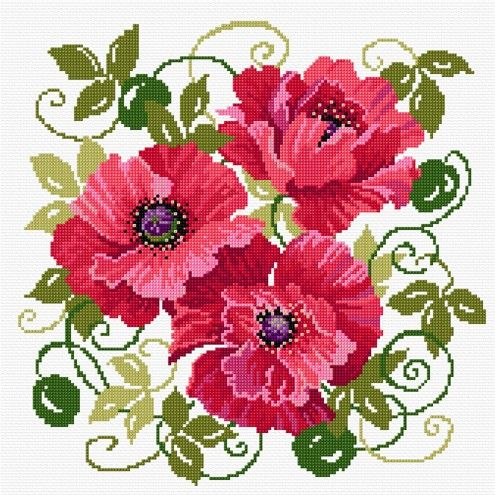 LJT019 Red Poppies | Lesley Teare Needlework and Cross Stitch Chart Designs