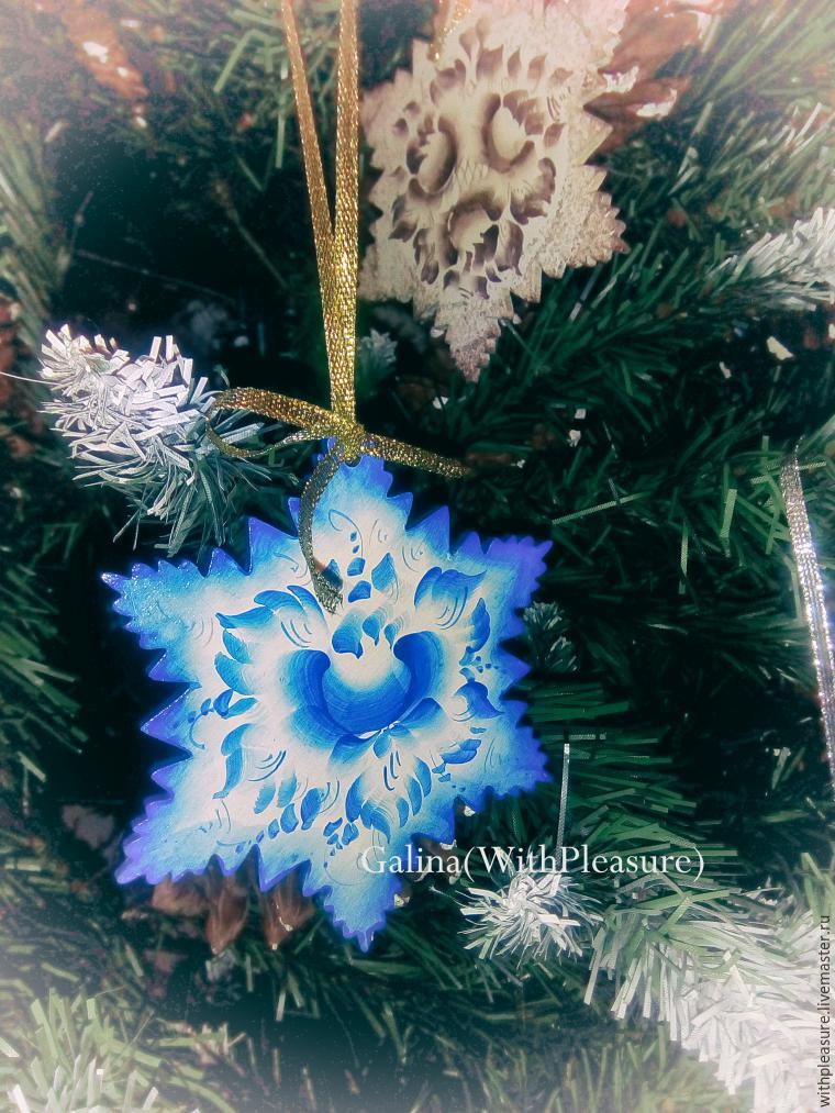 """Расписываем новогоднюю снежинку стиле """"Гжель"""""""