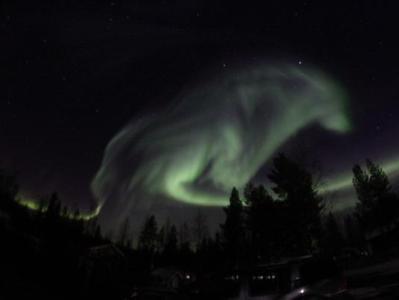 В Швеции северное сияние «нарисовало» в небе светящегося волка .