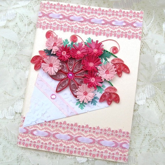 Paper Quilled Fringed Pink FLOWERS in a Paper Doily Cone Handmade Greeting Card by Enchanted Quilling on Etsy