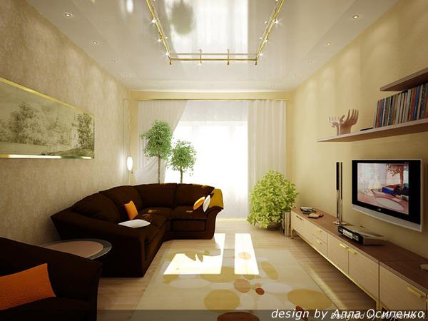 Прямоугольная гостиная дизайн фото