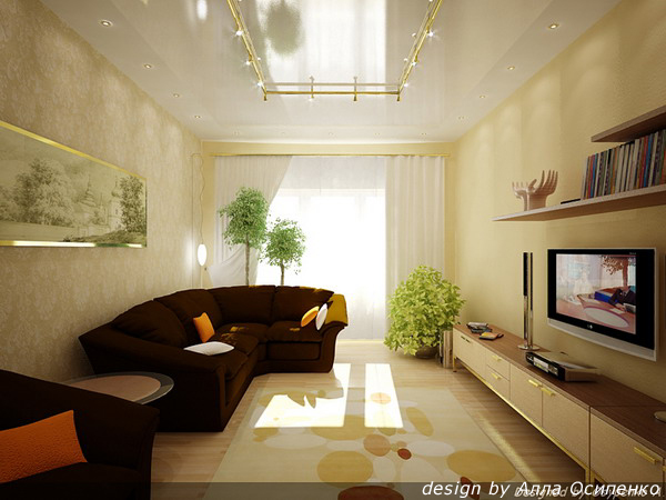 Интерьер прямоугольной комнаты фото