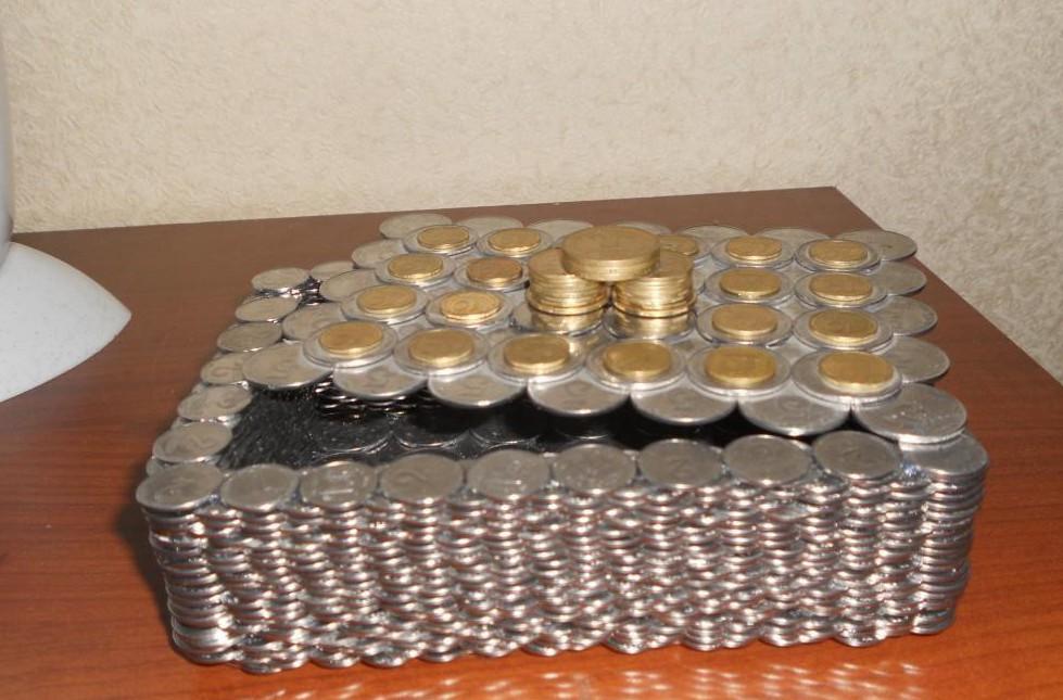 Шкатулка из монет монетки, поделка