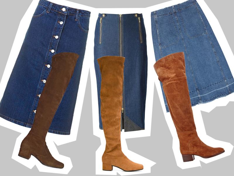midi denim skirt+high knee boots_s zalivkoj