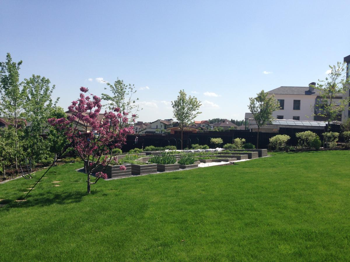 Благоустройство территории загородного дома в Пестово 670 м2.